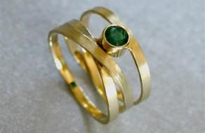 Gouden wikkelring met Smaragd (Small)